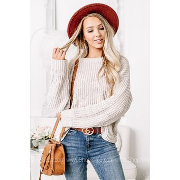 It's That Time Chenille Knit Sweater   Dusty White