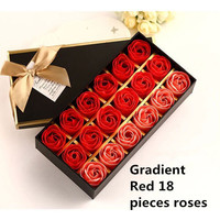 Christmas presents 12 roses soap flower chocolate cartoon toy box Valentine's day gift Soap flower Red 18 piece rose Gradient