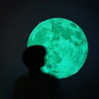 40cm Luminous Wall Stickers For Kids Room Decoration Glow In The Dark Wall Sticker Moon 3d Fluorescent Wallpaper Child Posters