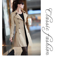 Khaki Polo collar, double breasted casual trench coat for women