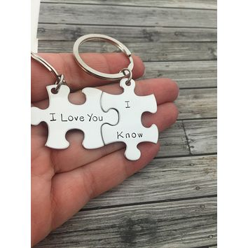 I love you I Know keychains, Couples Keychains , Anniversary Gift