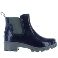 Kixters Fisher - Navy Blue Shiny Short Pull-On Rubber Rain Boot