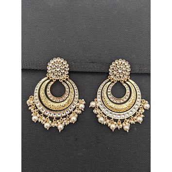 XXL size Pearl cluster bead dangle Kundan Chanbali Earrings