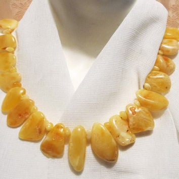 100% Natural Genuine Baltic #Amber #Huge #Necklace 78.3 grams #yellow egg yolk butterscotch polished beads raw stones brown opaque for adult