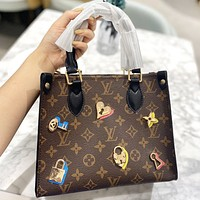 LV Fashion New Monogram Print Leather Shoulder Bag Handbag Crossbody Bag Coffee