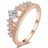 TUKER Engagement Party Ring Crystal Rhinestone Crown Rings Cute Elegant Luxury Sliver Plated Party