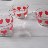 Small red heart shot cups set of 3 cups Espresso cups set Small glass cups tea cup set Cute coffee shot glass Retro girls nursery decor