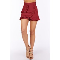 Living For The Day Ruffle Skort (Cognac)