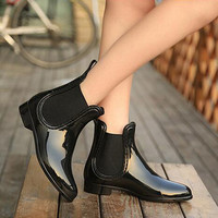 Rubber Boots 2016 Waterproof Trendy Jelly Women Ankle Rain Boot Elastic Band Solid Color Rainy Shoes Women WBS42