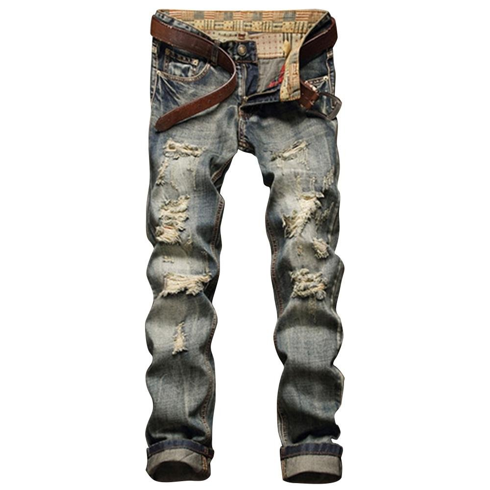 Image of Men's Frayed Zipper Fly Five-pocket Straight Leg Ripped Jeans