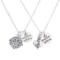 2 Pcs Letters Engraved no matter where Compass Anchor Necklaces Set Best Friend Gifts for Teen Girls Friendship Necklaces