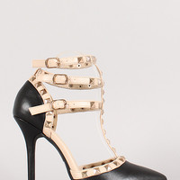 Pyramid Studded T-Strap