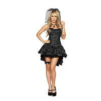 Roma Costume 4456 4Pc Black Widow Bride