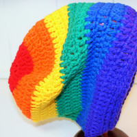 Ready to Ship: Crochet Rainbow Slouchy Beanie Hat, Women, Unisex Teen