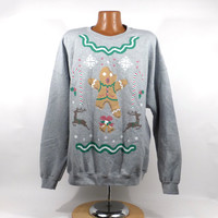 Ugly Christmas Sweater Vintage Sweatshirt Mickey Mouse Party Xmas Tacky Holiday 3X