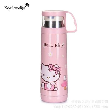 Children Insulation kettle Water Bottle Hello Kitty/Doraemon/Small yellow people Cartoon Stainless Steel Travel D0