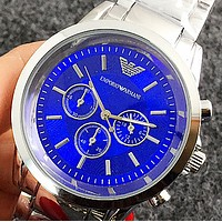 ARMANI Three-eye six needle bar nail simple business alloy steel belt quartz watch Silver&blue