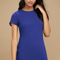 Perfect Time Royal Blue Shift Dress