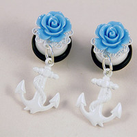 """PAIR White Anchor With Blue Rose Dangle Ear Plugs / Gauges - 10mm 00g , 12mm 1/2"""" , 14mm 9/16"""""""