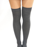 Grey Thigh High Sock