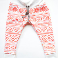 Coral Aztec/Tribal Baby Leggings with Drawstring. Toddler Leggings. Trendy Baby Leggings