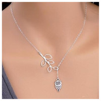 Beautiful Dainty and Delicate Leaf Owl Drop Necklace