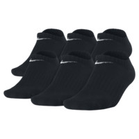 Nike Band Cotton No-Show Kids' Socks (Medium/6 Pairs) Size M (Black)