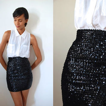 Vtg High Waist Black Sequined Stretchy Mini Bandage Skirt