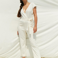Womens Linen-Blend Wrap Jumpsuit | Womens New Arrivals | Abercrombie.com