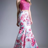 Two Piece Floral Print Full Length Prom and Evening Dress