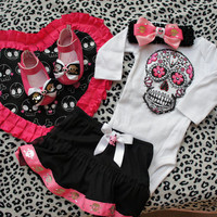 Olivia Paige - Rockabilly Baby set of Leopard skull heart  blanket sugar skull. bodysuit with skirt. Baby flats and Headband  6 to 9 months