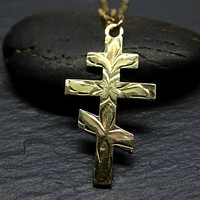 dainty gold cross necklace womens cross pendant orthodox cross necklace gold, hand engraved cross, unique gift for women, Christening gift