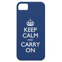 Keep Calm And Carry On - Cobalt Blue White Text iPhone 5 Cover from Zazzle.com