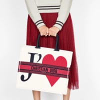 DIOR BOOK TOTE BAG IN EMBROIDERED DIOR OBLIQUE CANVAS