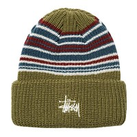 Striped Cuff Beanie Olive