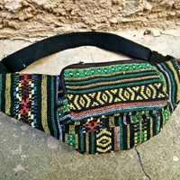 Fanny pack Boho Bum bag Ethnic Tribal Style Festival belt belly Pouch Travel hip sack Ikat Woven Hippies Gypsy For cycling hiking Pink black