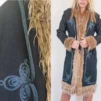 Shaggy Faux Fur Embroidered Long Coat Size 10 Medium | 90s does 70s Navy Blue Fur Trim Afghan Hippie Jacket 60s penny lane style