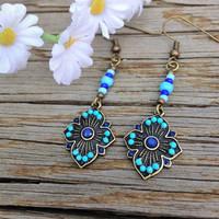 Antique Gold and Blue Earrings