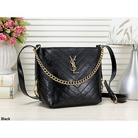 YSL tide brand female retro wavy shoulder bag Messenger bag Black