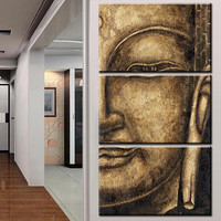 The original High Quality HD Group Oil Painting 3 Panel Wall Art Religion Buddha Oil Painting On Canvas NO Framed wall picture