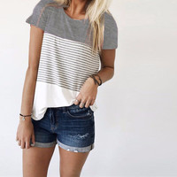 Women's Gray Colorblock Solid Black Striped White Short Sleeve Fashion Top