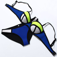 2016 Hot Sale Neoprene Bikini Push Up Neon Neoprene Swimwear Women Bathing Suit Biquini Swim Suit