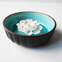 Christmas Décor Lotus : Ceramic Flower + Bowl ~ Incense Burner# Red #Luminous Aqua ~ Christmas gift idea