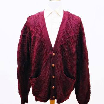 Vintage 1980s Cable Knit Plain Burgundy Red Indie Mens Cardigan XL Tall