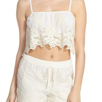 Band of Gypsies Embroidered Mesh Crop Top   Nordstrom