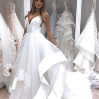 Evening Dresses White Ruffles Tulle Backless Long Prom Dresses