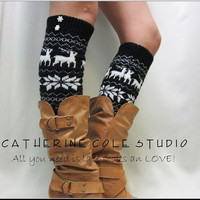 NEW black Ski sweater snowflake pattern leg warmers womens great  an be worn over or under with boots by Catherine Cole Studio legwarmers
