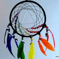 Pink Floyd Dark Side of the Moon inspired dream catcher- with rainbow gemstones