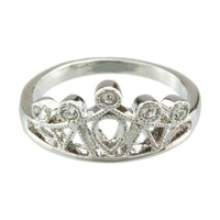 FM42 Silver-tone Clear Crystal Princess Crown Ring R1044 Size 5