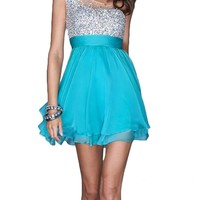 IBEAUTY DRESS Lace One-shoulder Crystal Short Evening Dress